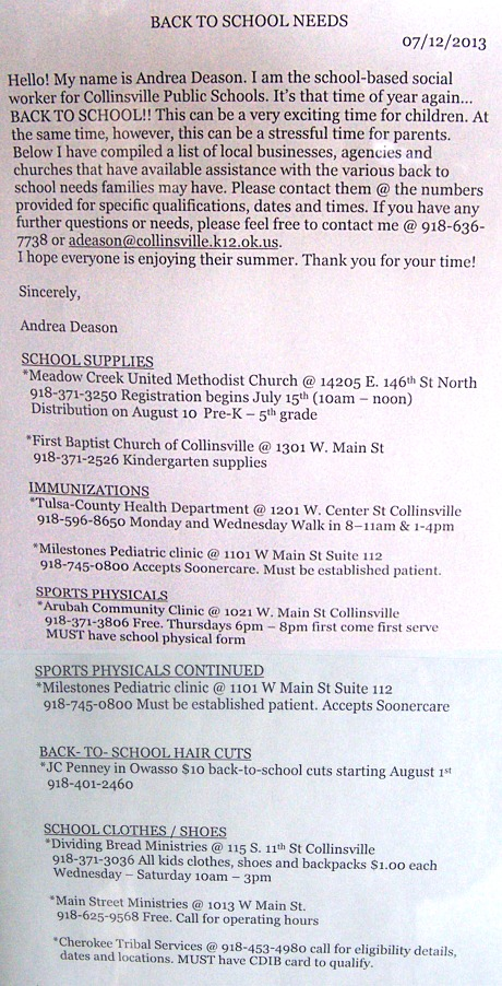 Misc. School Information -- July 26, 2013 -- Collinsville, Ok