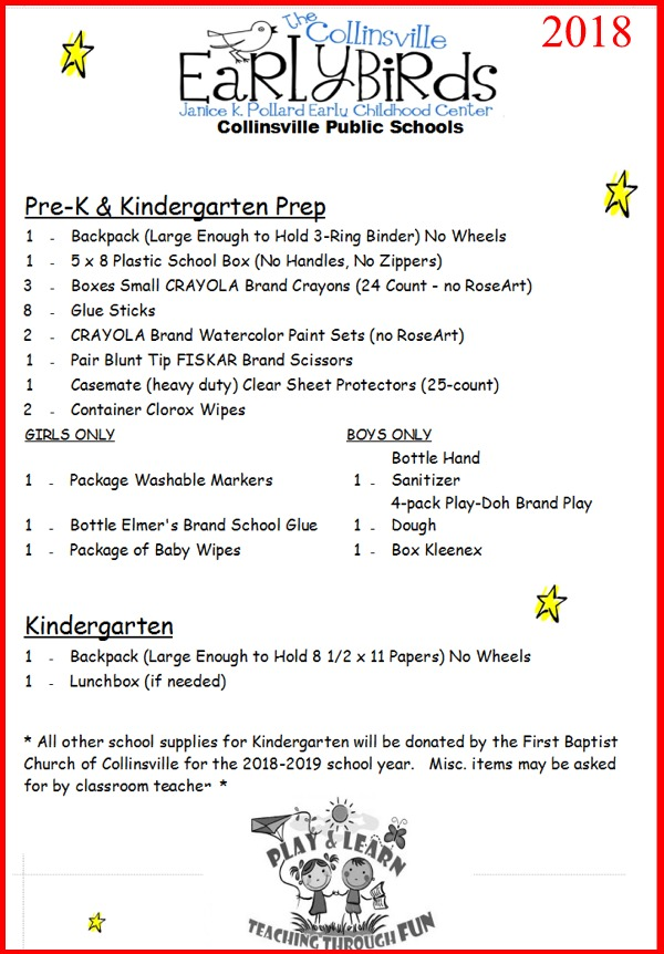School Supply Lists August 1 2018 Collinsville Ok