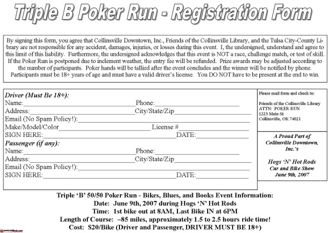 Poker run waiver template how to calculate number of poker hands
